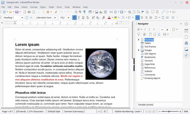An image of Libre Office on a Linux operating system.
